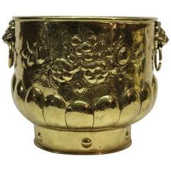 Large Brass Log Holder Bucket