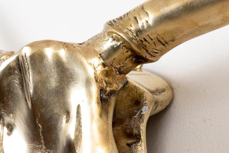 Korean Large Brass Longhorn Wall Sculpture For Sale