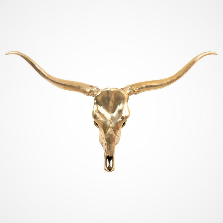 Mid-20th Century Large Brass Longhorn Wall Sculpture For Sale