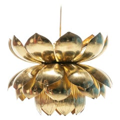 Large Brass Lotus Fixture by Feldman Lighting Company in the Style of Parzinger
