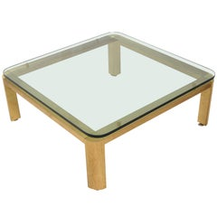 Large Brass Mastercraft Coffee Table with Glass Top