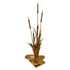 Large Brass Mid-Century Modern Rush Leaf Table Lamp by Maison Jansen, France