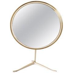 Large Brass Midcentury Table Mirror by Vereinigte Werkstätten, Germany, 1950s