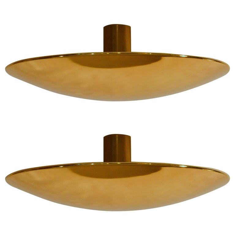 Large Brass Minimal Flushmount Ceiling or Wall Lights by Florian Schulz For Sale 3