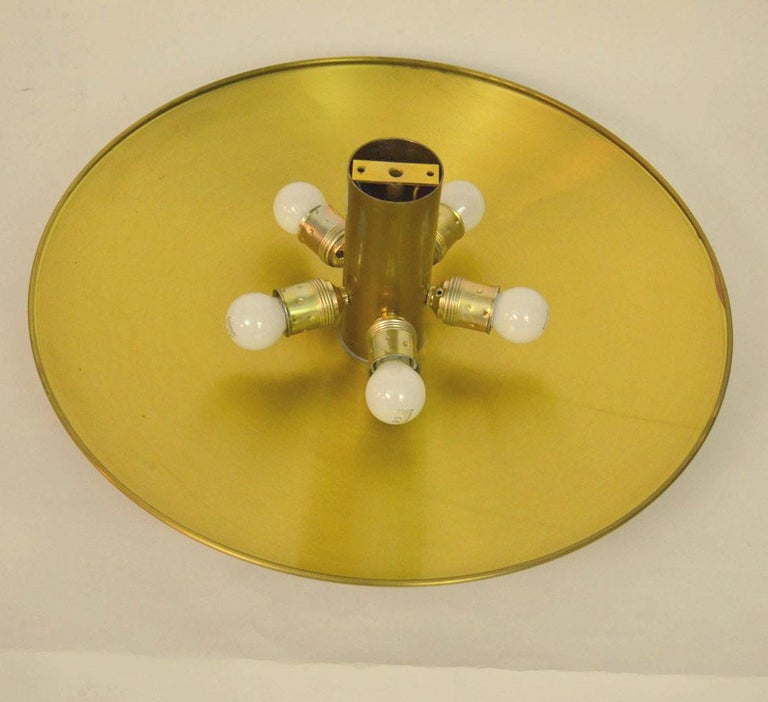 Large Brass Minimal Flushmount Ceiling or Wall Lights by Florian Schulz For Sale 2
