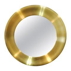 Large Brass Mirror by Glasmäster in Markaryd, Sweden, 1970s