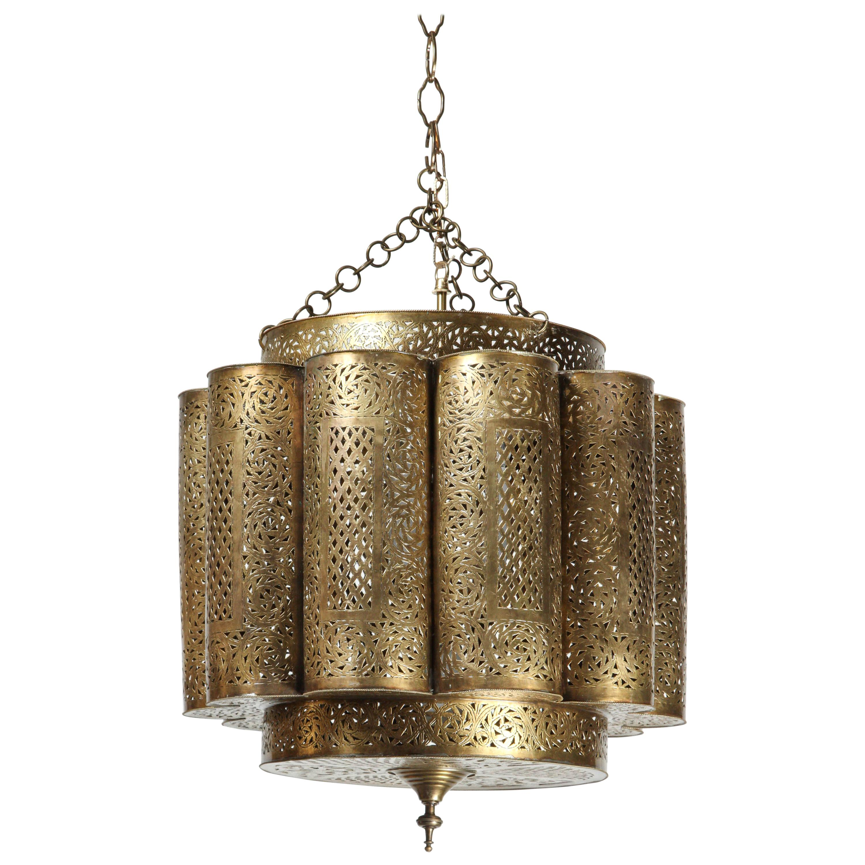 Large Brass Moroccan Chandelier in Alberto Pinto Style