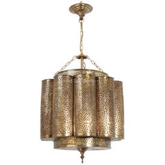 Large Brass Moroccan Moorish Chandelier, Shalimar