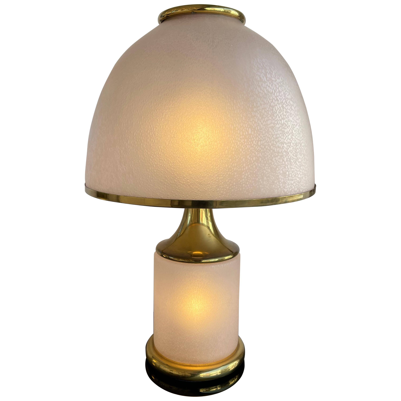 Large Brass Mushroom Murano Glass Lamp, Italy, 1970s
