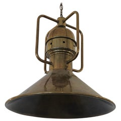 Large Brass Nautical Industrial Light Fixture Chandelier