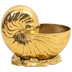 Large Brass Hollywood Regency Seashell Nautilus