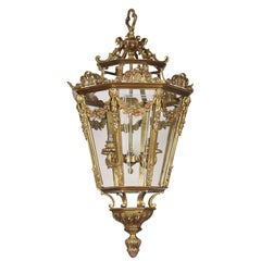 Large Brass Octagonal Cut-Glass Four-Light Lantern