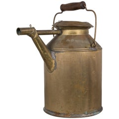 Large Brass Oil Can with Wooden Handle, circa 1940