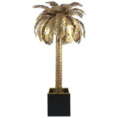 Large Brass Palm Tree Floor Lamp by Maison Jansen, France, circa 1970