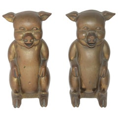 Large Brass Pigs Bookends / Pair