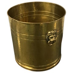Large Brass Planter with Lion Heads