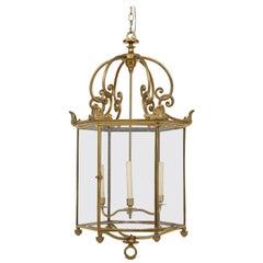Large Brass Regency Style Hall Lantern