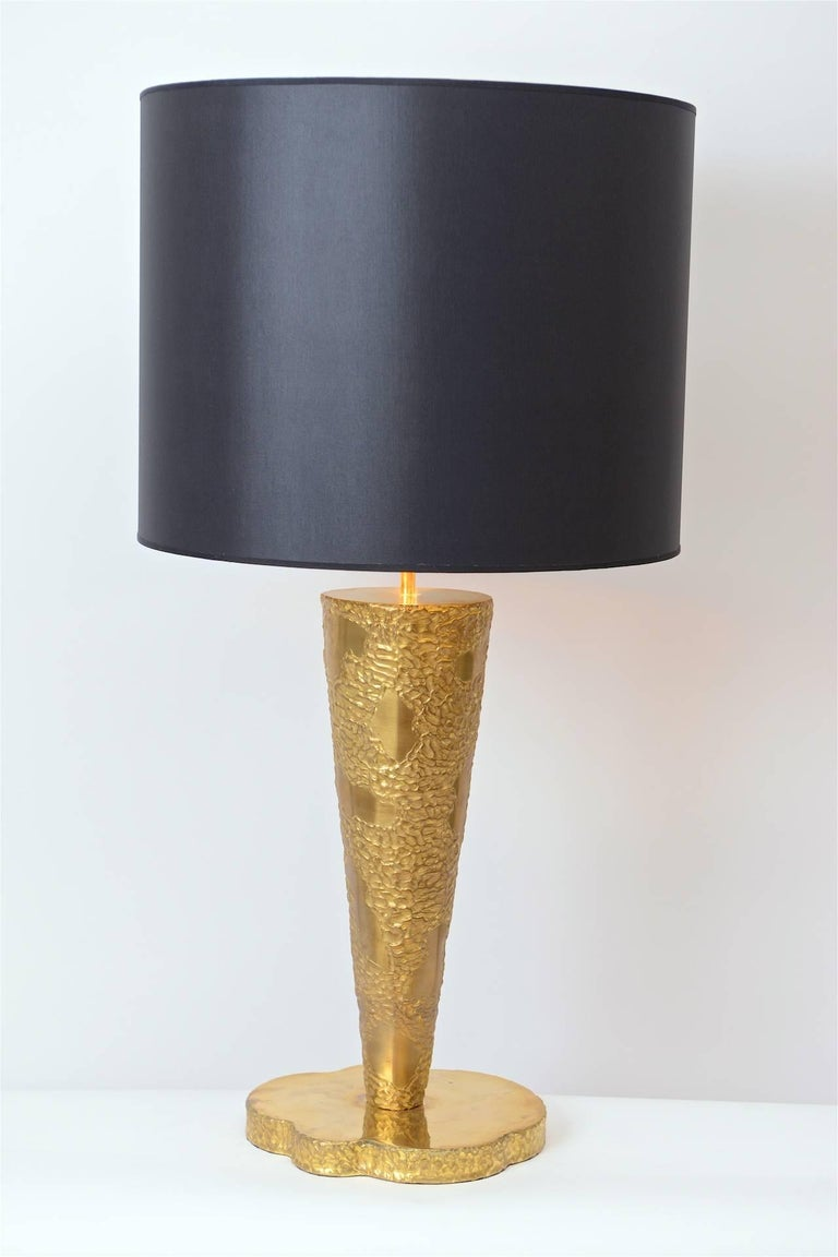 Mid-Century Modern Large Brass Sculptural Table Lamp in the Manner of Angelo Brotto, circa 1970 For Sale