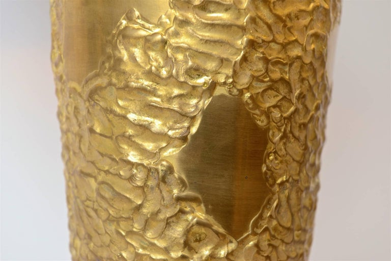 Italian Large Brass Sculptural Table Lamp in the Manner of Angelo Brotto, circa 1970 For Sale