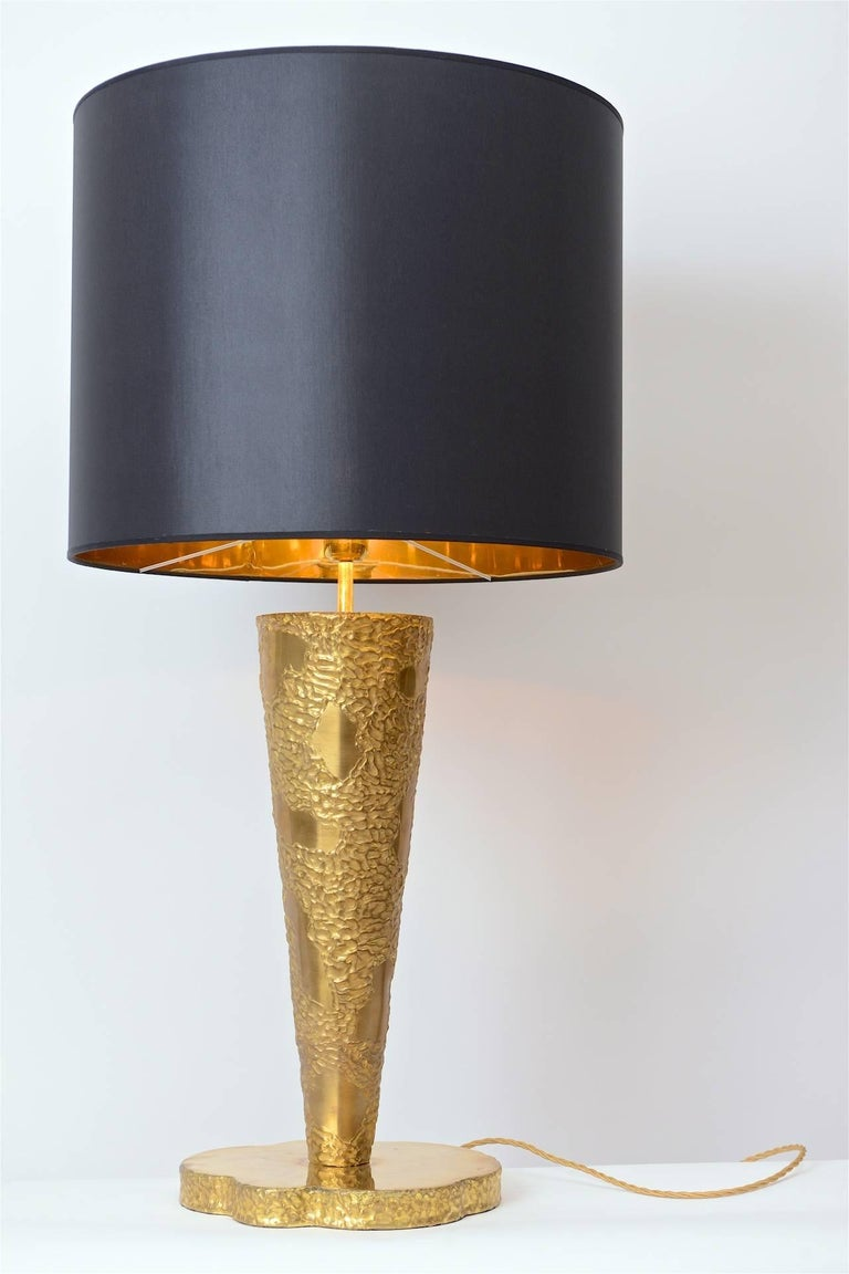 20th Century Large Brass Sculptural Table Lamp in the Manner of Angelo Brotto, circa 1970 For Sale