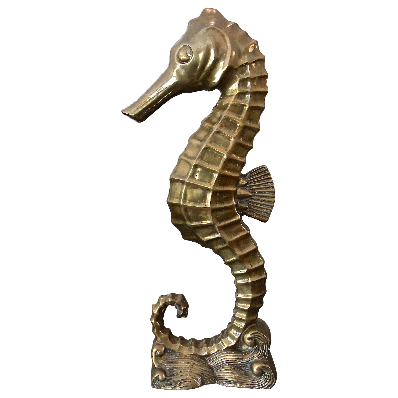 Large Brass Seahorse Figural Sculpture
