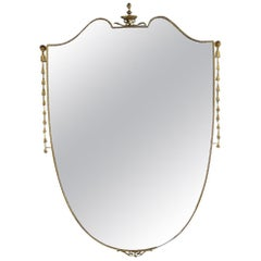 Large Brass Shield Mirror