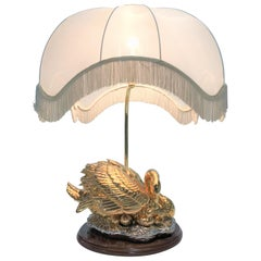 Large Brass Swan Table Lamp, 1960s