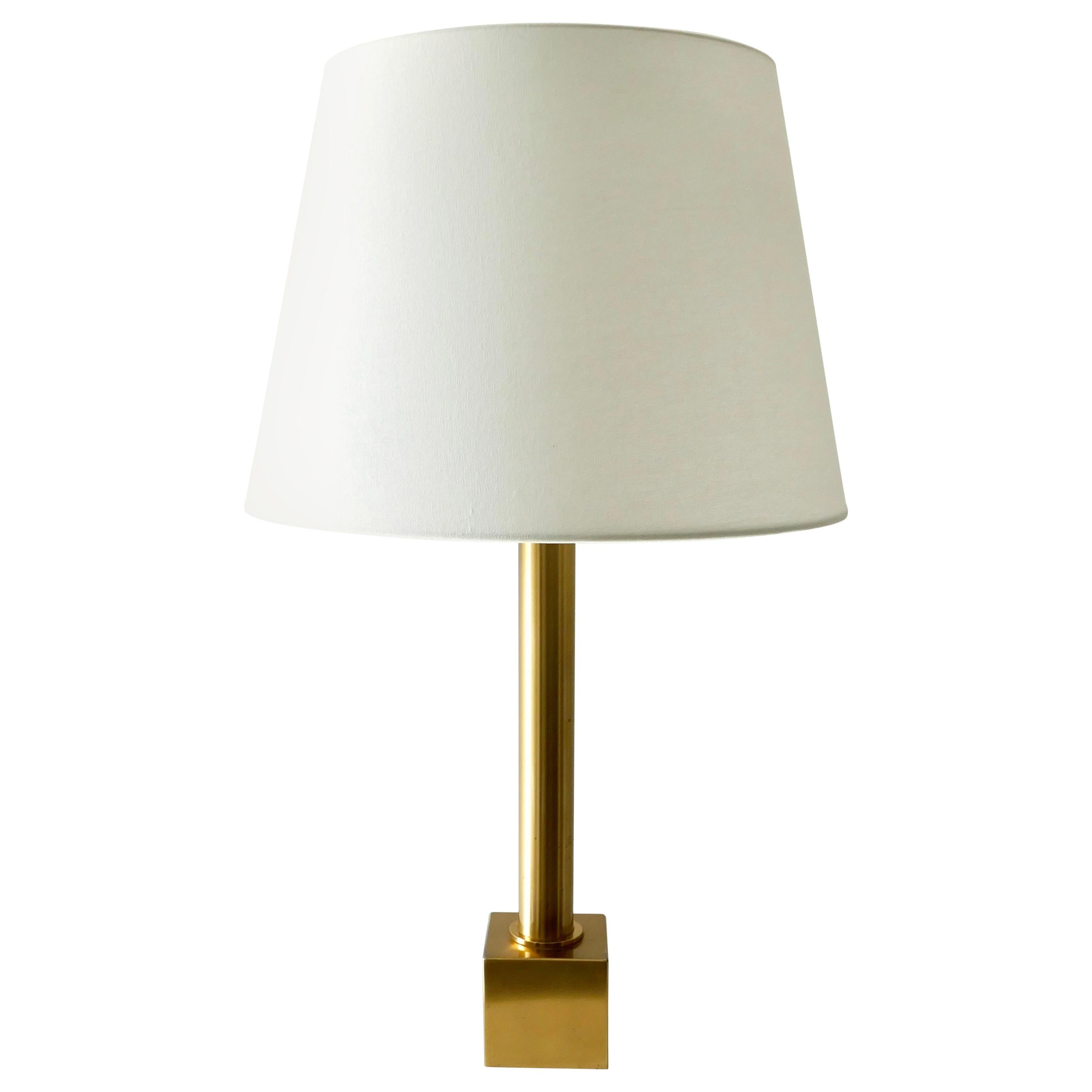 Large Brass Table Lamp with White Lamp Shade, Germany, 1970s