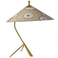 Large Brass Tripod Table Lamp Attributed to J.T. Kalmar, 1950s