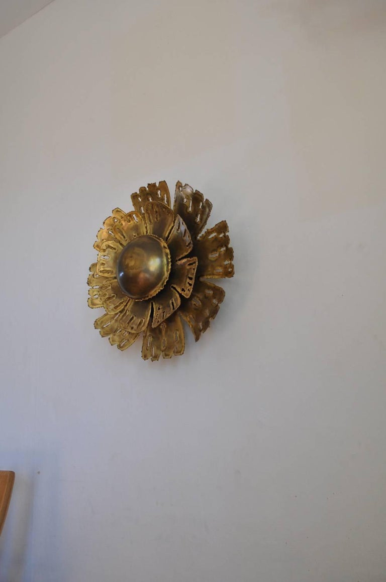 Scandinavian Modern Large Brass Wall Lamp by Svend Aage Holm Sørensen, the 1960s in Denmark For Sale