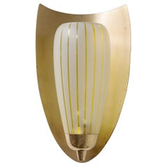 Large Brass Wall Light, 1940s, Striped Glass