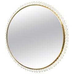 Large Brass Wall Mirror by Josef Frank Mirror for Svenskt Tenn, Sweden, 1950s