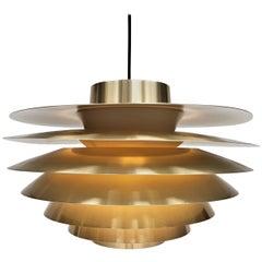 Large Brassed Svend Middelboe Verona Pendant Light Produced by Nordisk Solar