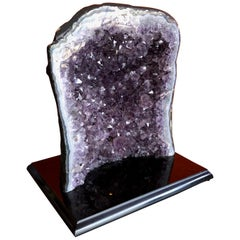 Large Brazilian Amethyst Geode on Black Marble Base