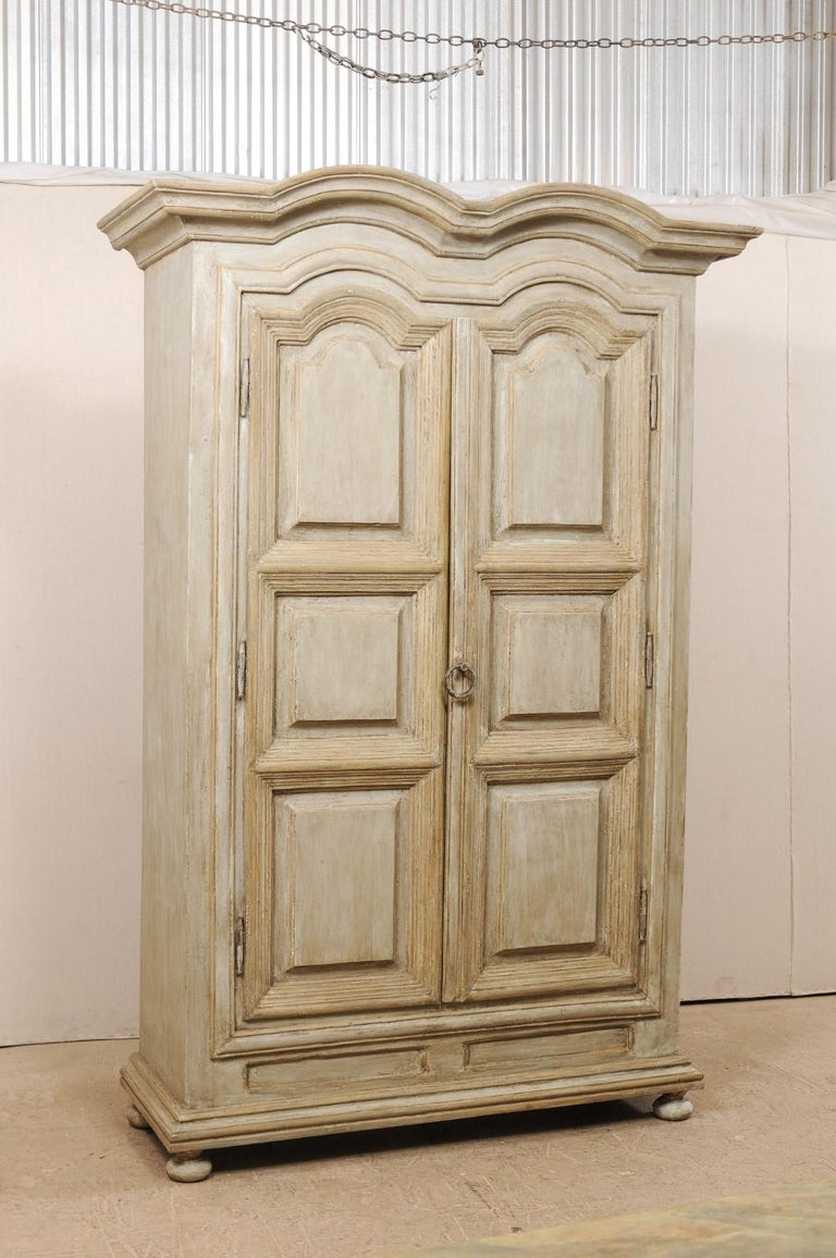 Carved Large Brazilian Painted Wood Storage Cabinet from the Mid-20th Century For Sale