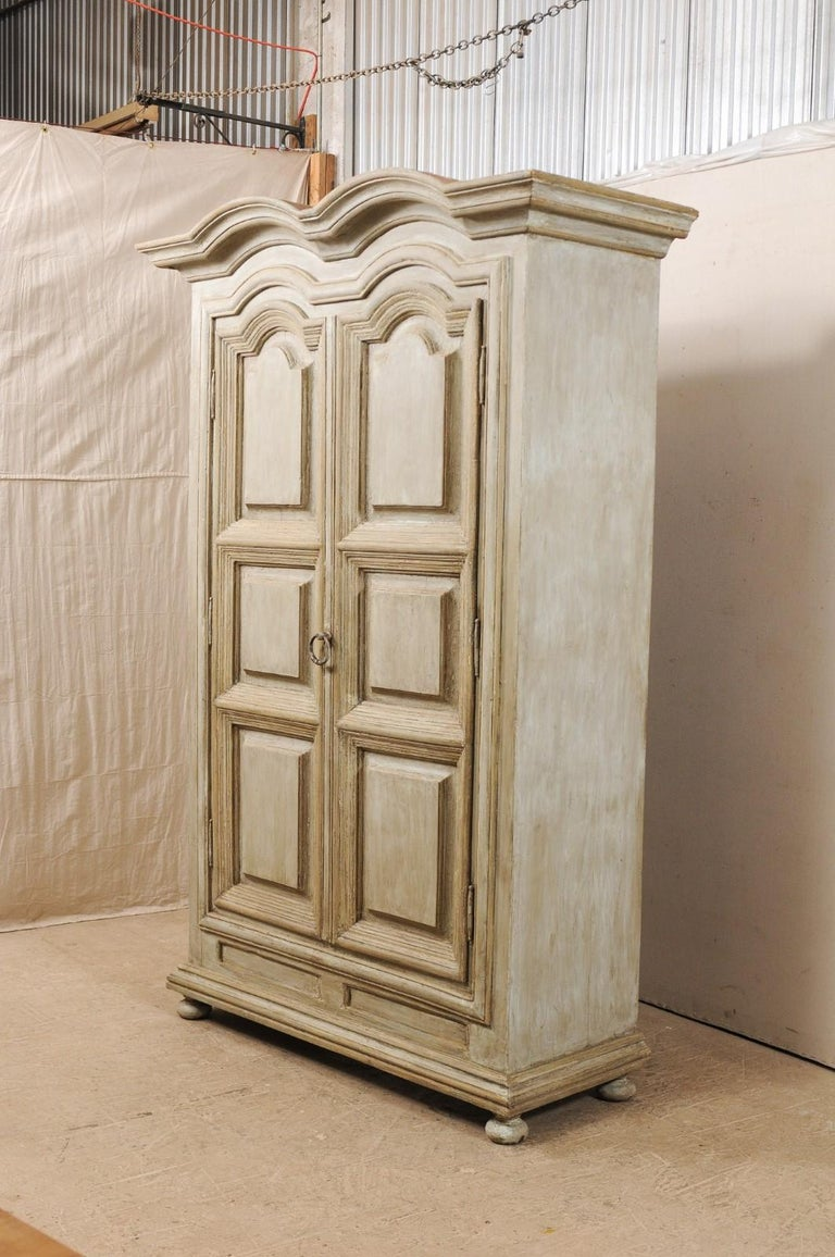 Large-Sized Brazilian Two-Door Storage Cabinet w/ Scalloped Crest, Mid-20th C. In Good Condition For Sale In Atlanta, GA