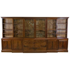 Large Breakfront Bookcase Cabinet, Mahogany, Glazed, Georgian Revival
