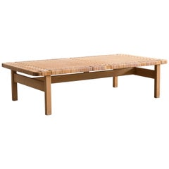 Large Børge Mogensen Oak and Cane Bench, 1955
