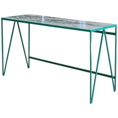 Large Bright Green Study Desk Writing Table with Granite Top
