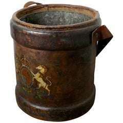 Large British Army Canvas Artillery Shell Carrier, Zinc Lined Coal or Log Bucket