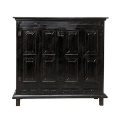 Large British Colonial Cabinet from the Mid-20th Century of Dark Ebonized Wood