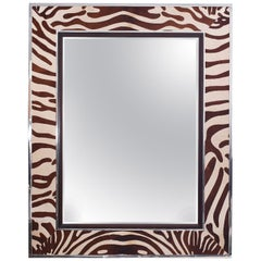 Large British Colonial Faux Zebra Wall Mirror