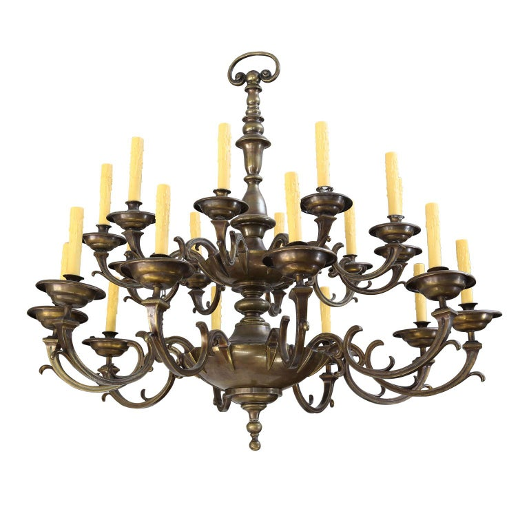 19th Century Large Bronze and Brass Chandelier For Sale