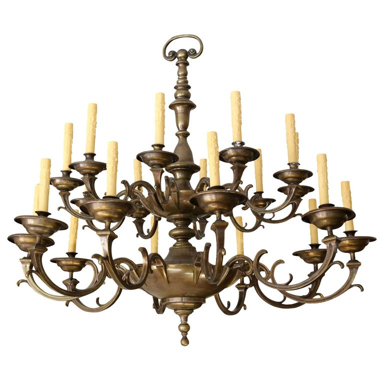 Large Bronze and Brass Chandelier For Sale