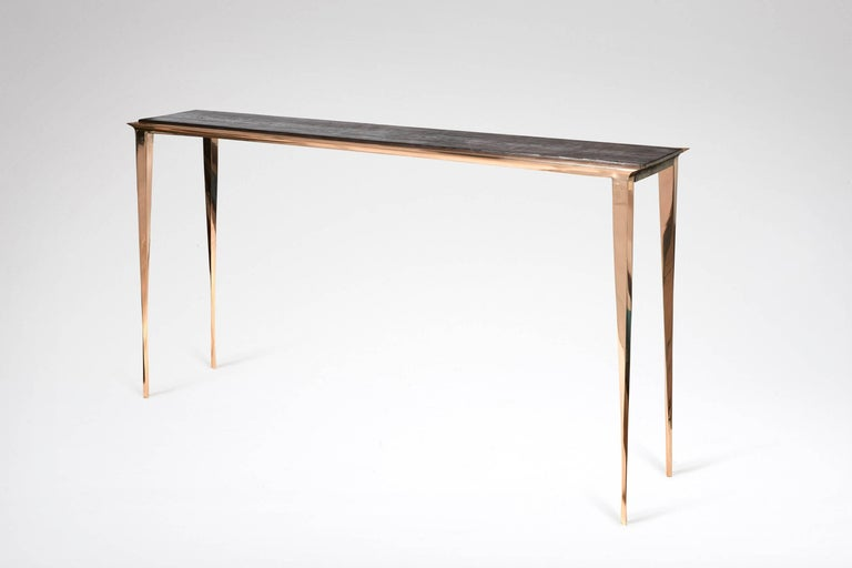A polished and varnished bronze console with a burnt pinewood top. Designed and executed in 2016 One of a kind in burned pinewood.