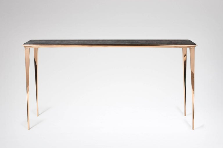 French Large Bronze and Burnt Pinewood Console by Anasthasia Millot & WH Studio For Sale