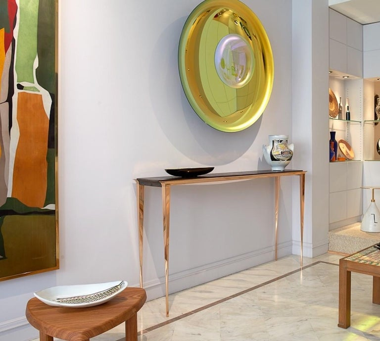 Contemporary Large Bronze and Burnt Pinewood Console by Anasthasia Millot & WH Studio For Sale