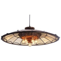 Large Bronze and Leaded Glass Seven Bulb Theatre Chandelier
