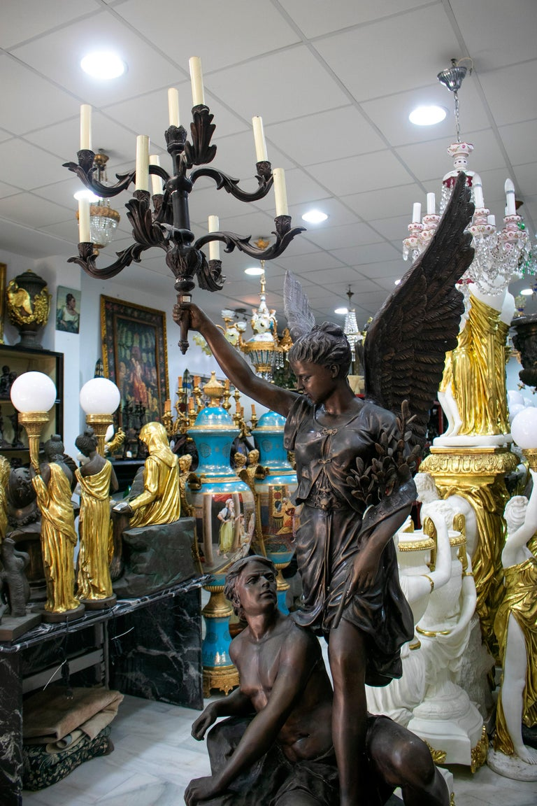 European Large Bronze Annunciation Chandelier with Angel and Shepherd Signed S. Keliam For Sale