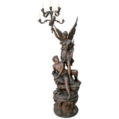 Large Bronze Annunciation Chandelier with Angel and Shepherd Signed S. Keliam
